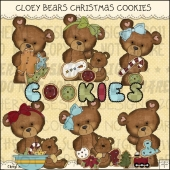 Cloey Bear Christmas Cookies ClipArt Graphic Collection
