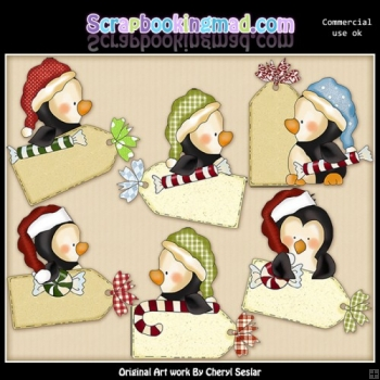 Penguin Christmas Tags ClipArt Collection
