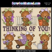 Bailey Bear Purple Flowers ClipArt Graphic Collection