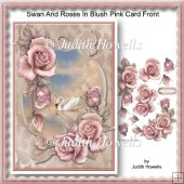 Swan And Roses In Blush Pink Card Front