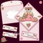 Bear In Pink Diamond Top Fold Card