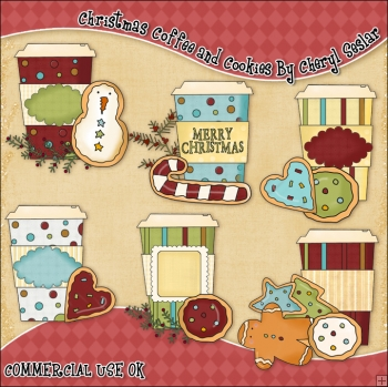 Christmas Coffee and Cookies ClipArt Graphic Collection