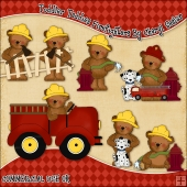 Toddler Teddies Firefighters ClipArt Graphic Collection