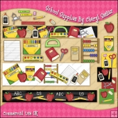School Supplies ClipArt Graphic Collection