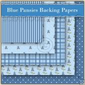 5 Blue Pansie Backing Papers Download (C115)
