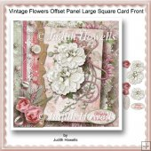 Vintage Flowers Offset Panel Large Square Card Front