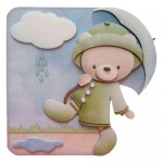 Rainy Day Bear Shaped Fold Card - without cloud sentiment