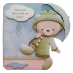 Rainy Day Bear Shaped Fold Card - with sentiment (choice of 5)