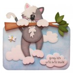 Kitty Calamity Over The Top Card - Style 2 - with sentiment