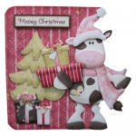 Mooey Christmas Decoupage Shaped Fold Card - view 1
