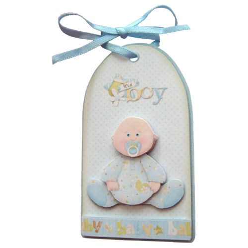Baby Boy Pram Large Gift Bag with Handles - tag