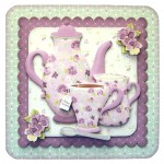 A Cup of Rosy Rounded Corner Fold Card - with sentiment
