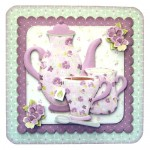 A Cup of Rosy Rounded Corner Fold Card - without sentiment