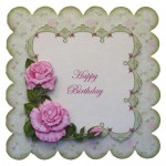 Pink Roses with Lace Scalloped Fold Card - view 1
