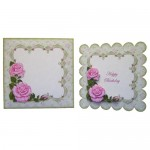 Pink Roses with Lace Scalloped Fold Card - finished set