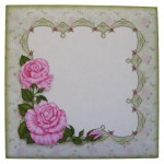 Pink Roses with Lace Scalloped Fold Card - envelope front
