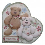 Beary Greetings Decoupage Heart Shaped Fold Card