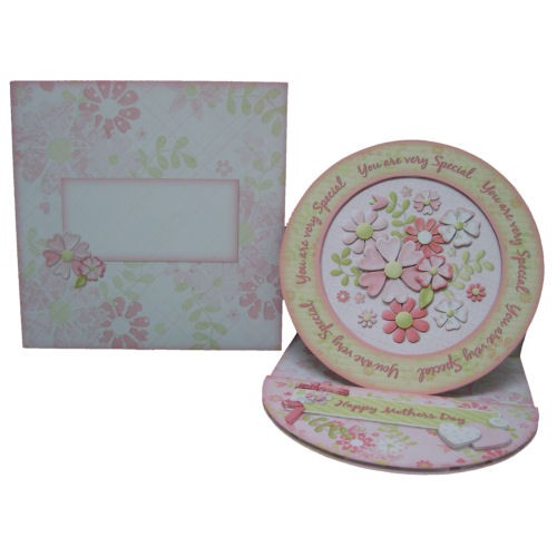 Floral Spray Decoupage Plate Easel Card - finished set