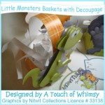 Little Monsters Basket Boxes with Decoupage