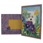 5x7 Westie In Pansies Decoupage Card - finished set