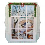 Snowy Bridge Window 7x7 Shadow Box Fold Card - view 1