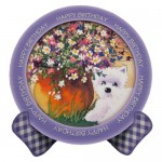 Westie with Flowers Plate Card