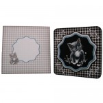 Black & White Kitten Shaped Fold Card with Wavy Topper - set