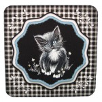 Black & White Kitten Shaped Fold Card with Wavy Topper