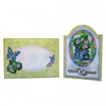 Butterfly with Flowers Round Topped Fold Card - finished set