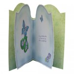 Butterfly with Flowers Round Topped Fold Card - inside view