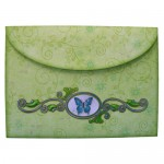 Butterfly with Flowers Round Topped Fold Card - envelope back