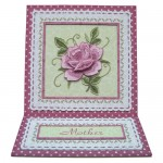 Pink Embroidered Rose Easel Card - view 1