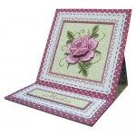 Pink Embroidered Rose Easel Card - view 2