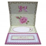 Pink Embroidered Rose Easel Card - inside view