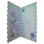 Purple Clematis Scalloped Fold Card - inside view