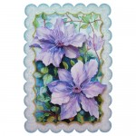 Purple Clematis Scalloped Fold Card - view 1