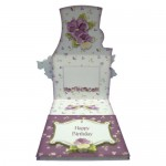 Pansy Basket Shaped Easel Card - inside view