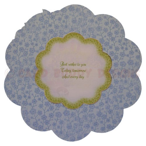 Relaxing in the Garden Large Scalloped Plate Card - plate back