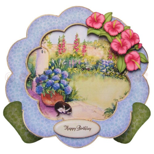 Relaxing in the Garden Large Scalloped Plate Card - view 1