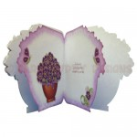 Pretty Purple Pot Plant Shaped Fold Card - inside view
