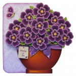 Pretty Purple Pot Plant Shaped Fold Card - view 1