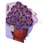 Pretty Purple Pot Plant Shaped Fold Card - view 2