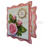 Pink Rose Wavy Edged Fold Card - view 2
