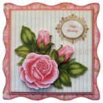 Pink Rose Wavy Edged Fold Card - view 1