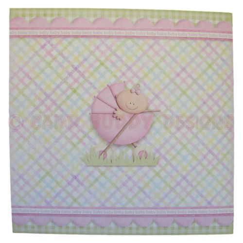 A New Baby Girl Fold Card - back view