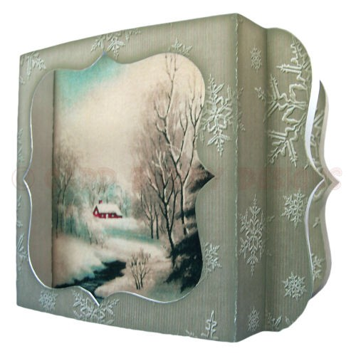 Snowy Cottage Bracket Edge Shadow Box Fold Card Kit - view 2