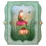 Bird & Cone Flowers 7x7 Bracket Edge Shadow Box Fold Card 1