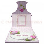 Pink Flower Basket Shaped Easel Card - inside view