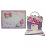 Pink Flower Basket Shaped Easel Card - finished set