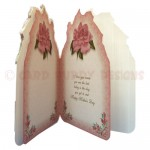 Dusky Pink Rose Shaped Fold Card - inside view